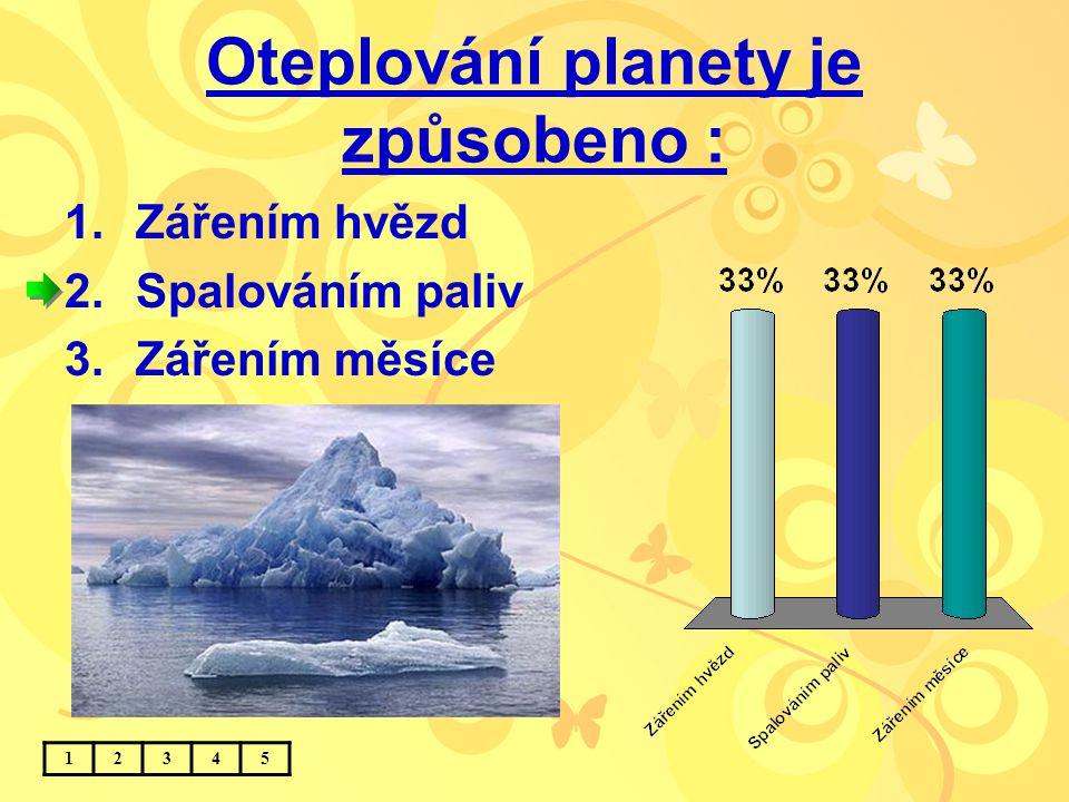 Oteplování planety je způsobeno : 1.Zářením hvězd 2.Spalováním paliv 3.Zářením měsíce 12345