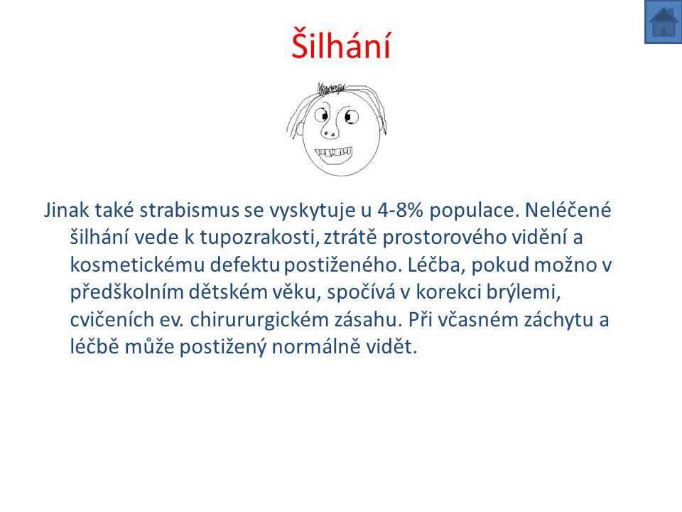 Šilhání Jinak také strabismus se vyskytuje u 4-8% populace.