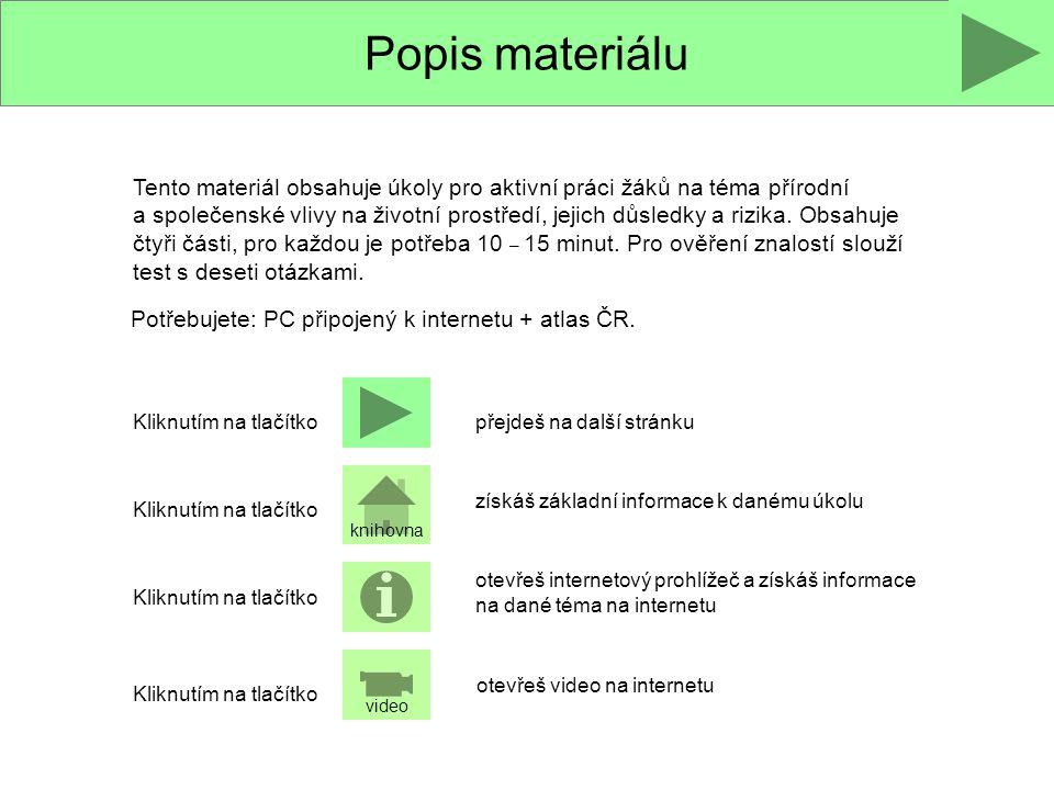 Popis materiálu Tento materiál obsahuje úkoly pro aktivní práci žáků na téma přírodní a společenské vlivy na životní prostředí, jejich důsledky a rizi