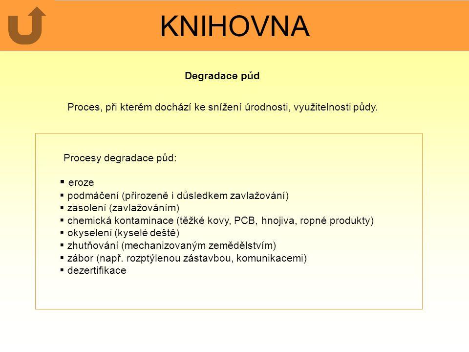 KNIHOVNA Procesy degradace půd:  eroze  podmáčení (přirozeně i důsledkem zavlažování)  zasolení (zavlažováním)  chemická kontaminace (těžké kovy,