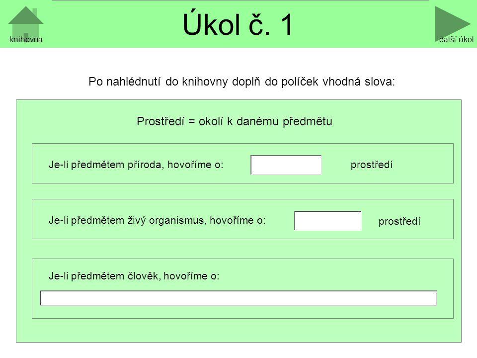 Úkol č.2 další úkol c) Vyhledáním ve slovníku cizích slov porovnej pojmy: enviroment a ekologie.