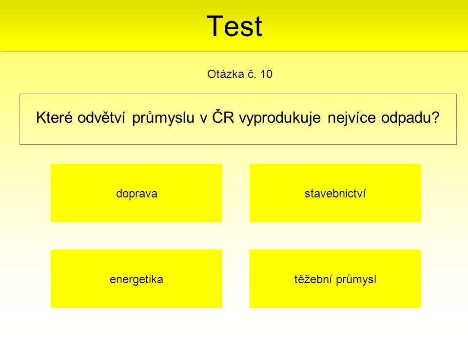 Které odvětví průmyslu v ČR vyprodukuje nejvíce odpadu? Otázka č. 10 těžební průmyslenergetika stavebnictvídoprava Test