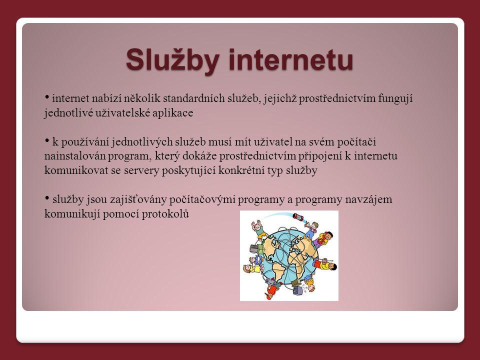Služby internetu internet nabízí několik standardních služeb, jejichž prostřednictvím fungují jednotlivé uživatelské aplikace k používání jednotlivých