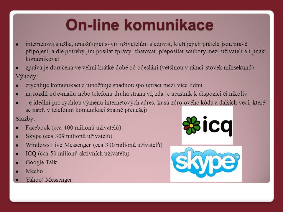 On-line komunikace internetová služba, umožňující svým uživatelům sledovat, kteří jejich přátelé jsou právě připojeni, a dle potřeby jim posílat zpráv