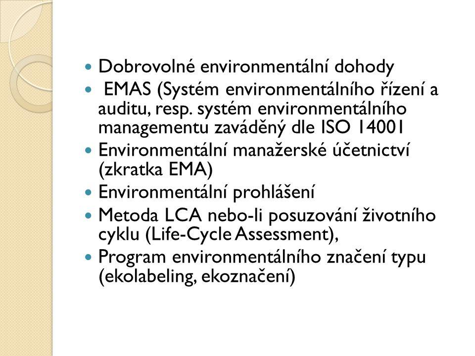 Dobrovolné environmentální dohody EMAS (Systém environmentálního řízení a auditu, resp.