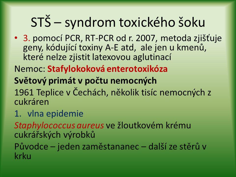 STŠ – syndrom toxického šoku 3. pomocí PCR, RT-PCR od r. 2007, metoda zjišťuje geny, kódující toxiny A-E atd, ale jen u kmenů, které nelze zjistit lat