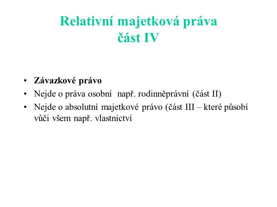 Relativní majetková práva část IV Závazkové právo Nejde o práva osobní např.