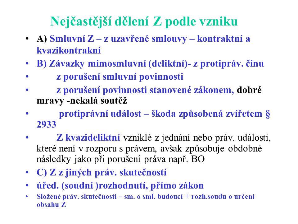 Nejčastější dělení Z podle vzniku A) Smluvní Z – z uzavřené smlouvy – kontraktní a kvazikontrakní B) Závazky mimosmluvní (deliktní)- z protipráv. činu