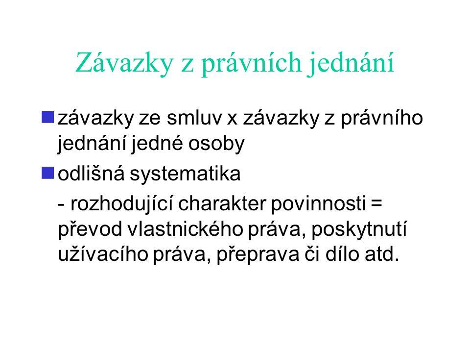 Závazky z právních jednání závazky ze smluv x závazky z právního jednání jedné osoby odlišná systematika - rozhodující charakter povinnosti = převod v