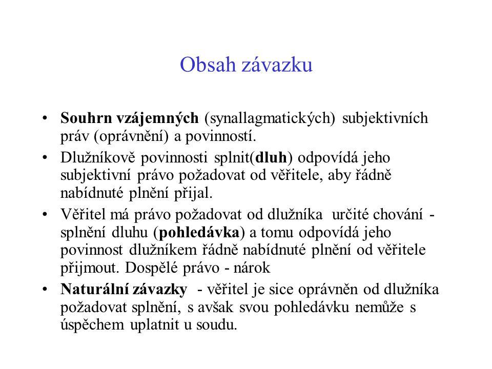 Obsah závazku Souhrn vzájemných (synallagmatických) subjektivních práv (oprávnění) a povinností. Dlužníkově povinnosti splnit(dluh) odpovídá jeho subj