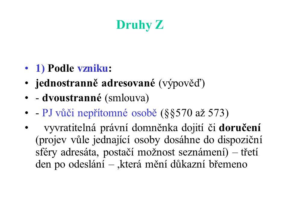 Druhy Z 1) Podle vzniku: jednostranně adresované (výpověď) - dvoustranné (smlouva) - PJ vůči nepřítomné osobě (§§570 až 573) vyvratitelná právní domněnka dojití či doručení (projev vůle jednající osoby dosáhne do dispoziční sféry adresáta, postačí možnost seznámení) – třetí den po odeslání –,která mění důkazní břemeno