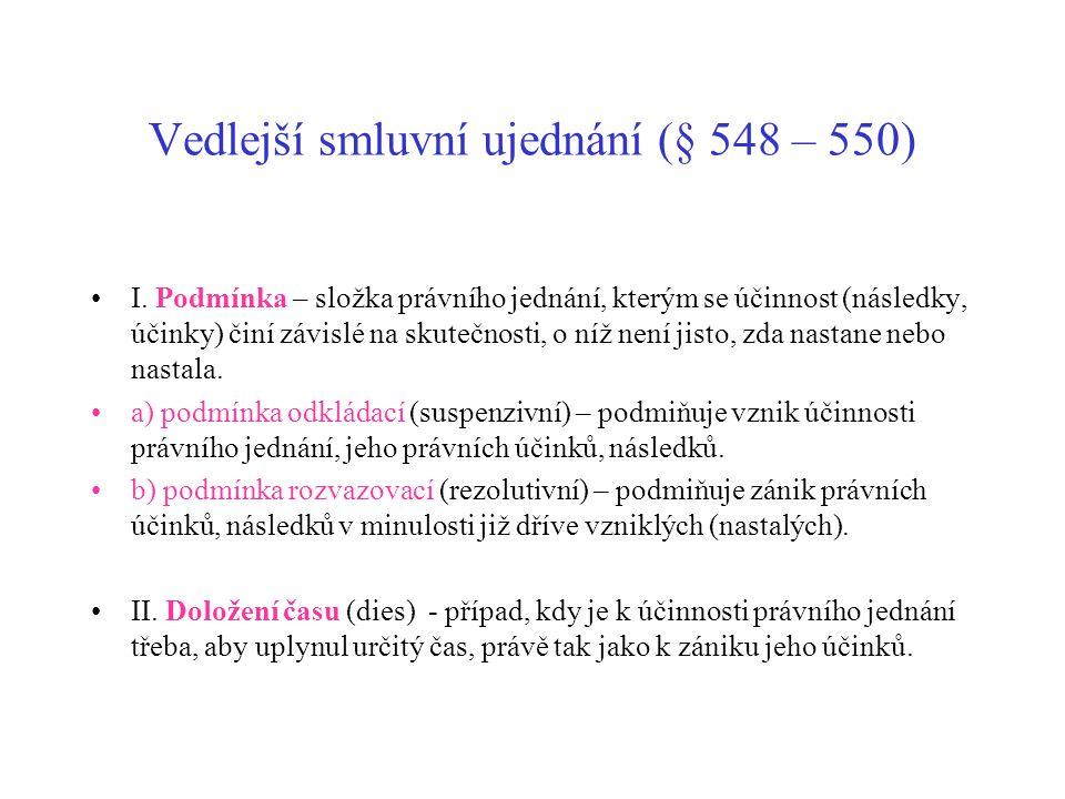 Vedlejší smluvní ujednání (§ 548 – 550) I.