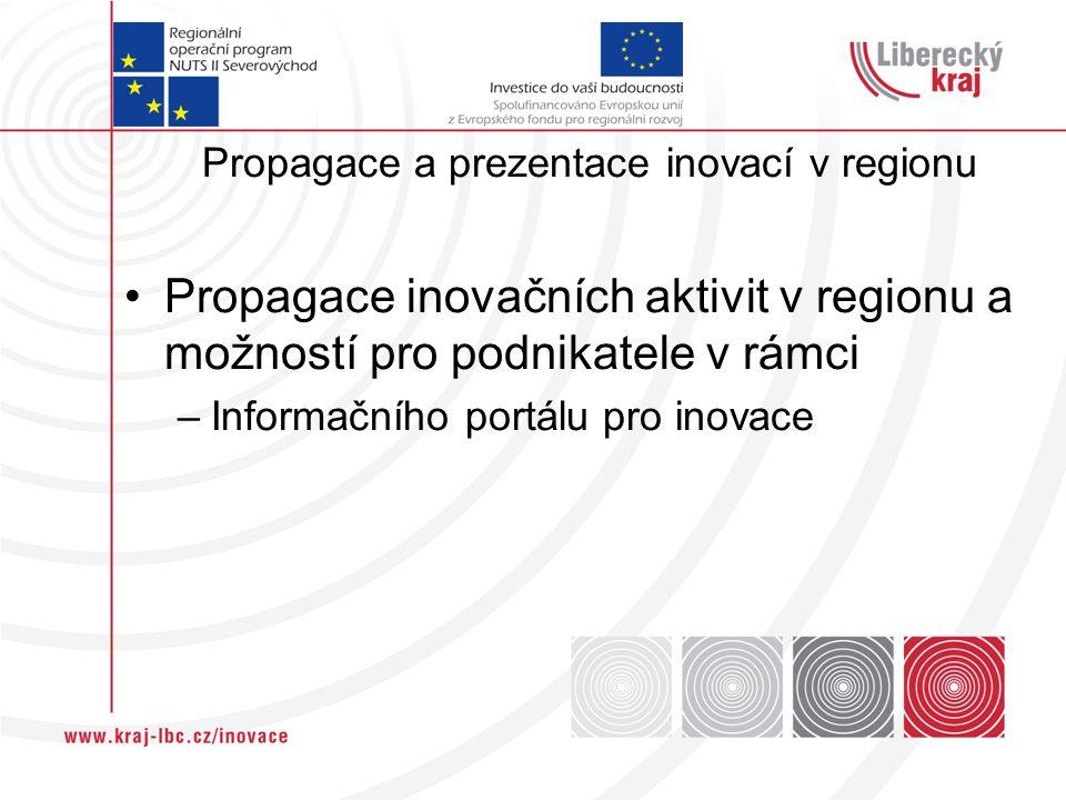 Propagace a prezentace inovací v regionu Propagace inovačních aktivit v regionu a možností pro podnikatele v rámci –Informačního portálu pro inovace