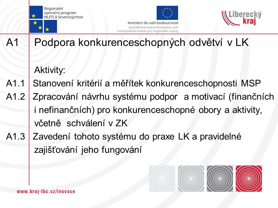 A1 Podpora konkurenceschopných odvětví v LK Aktivity: A1.1 Stanovení kritérií a měřítek konkurenceschopnosti MSP A1.2 Zpracování návrhu systému podpor a motivací (finančních i nefinančních) pro konkurenceschopné obory a aktivity, včetně schválení v ZK A1.3 Zavedení tohoto systému do praxe LK a pravidelné zajišťování jeho fungování