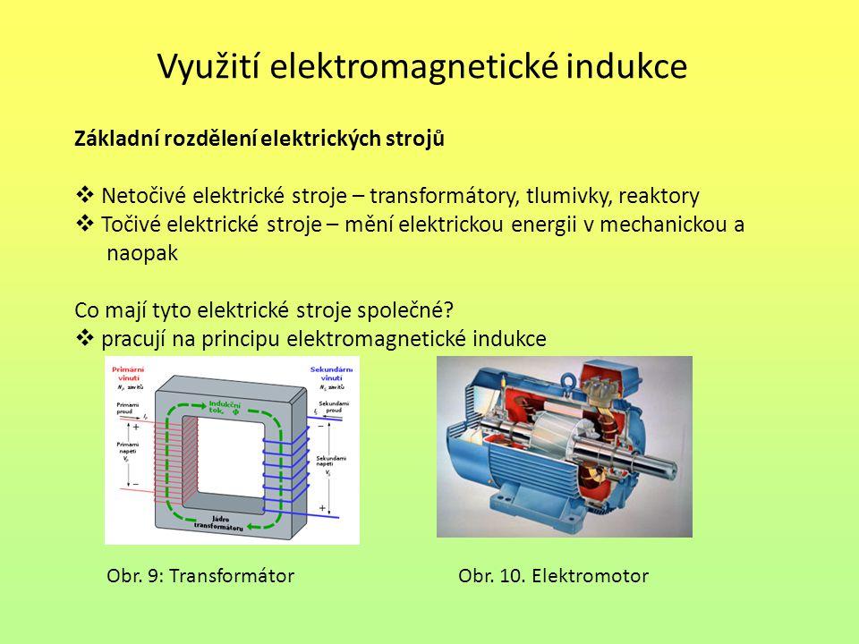 Využití elektromagnetické indukce Základní rozdělení elektrických strojů  Netočivé elektrické stroje – transformátory, tlumivky, reaktory  Točivé elektrické stroje – mění elektrickou energii v mechanickou a naopak Co mají tyto elektrické stroje společné.