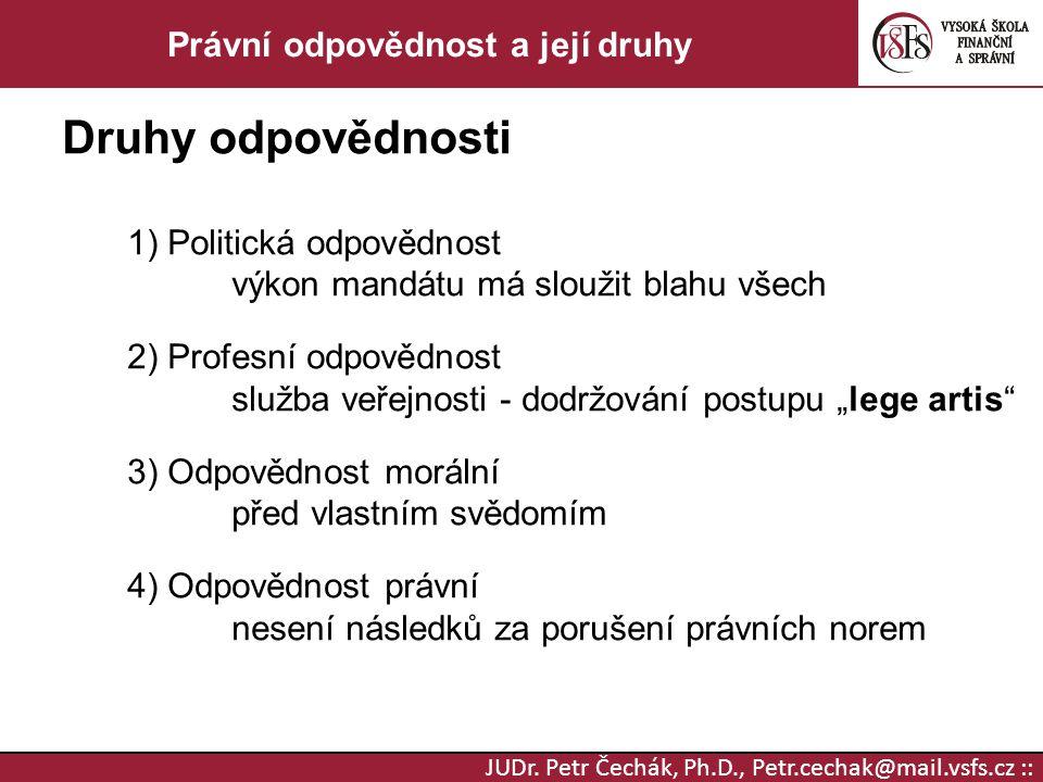 JUDr. Petr Čechák, Ph.D., Petr.cechak@mail.vsfs.cz :: Právní odpovědnost a její druhy Druhy odpovědnosti 1) Politická odpovědnost výkon mandátu má slo