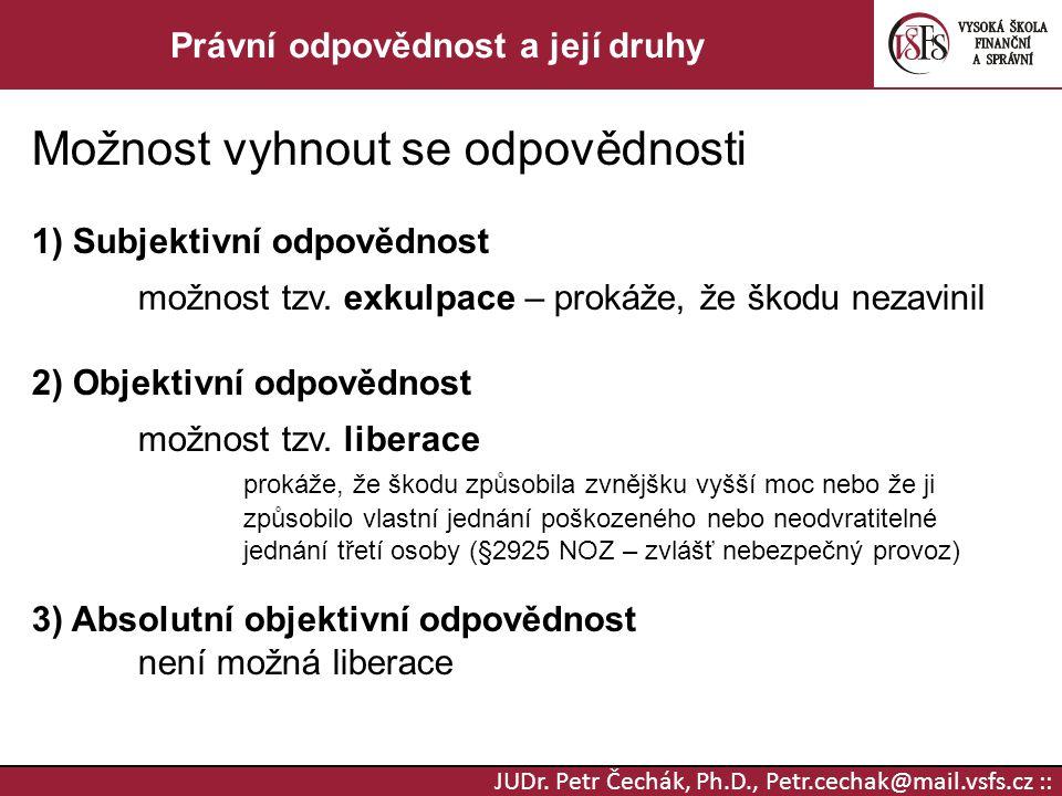 JUDr. Petr Čechák, Ph.D., Petr.cechak@mail.vsfs.cz :: Právní odpovědnost a její druhy Možnost vyhnout se odpovědnosti 1) Subjektivní odpovědnost možno