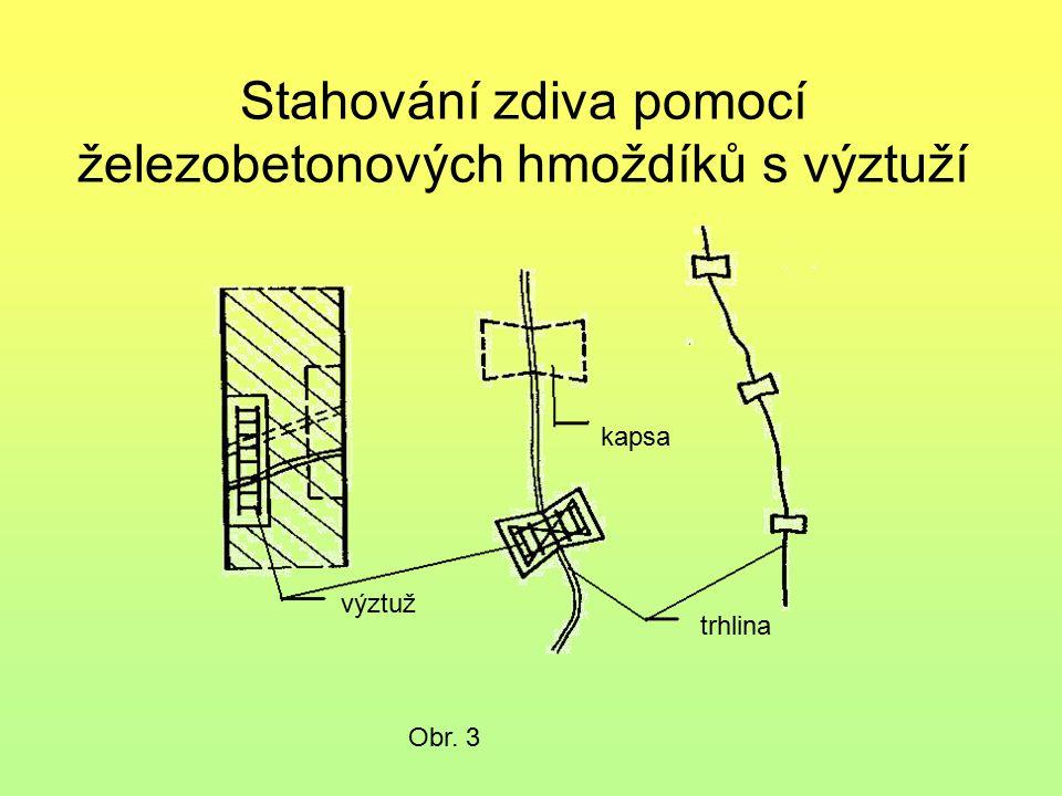 Stahování zdiva pomocí železobetonových hmoždíků s výztuží Obr. 3 kapsa výztuž trhlina