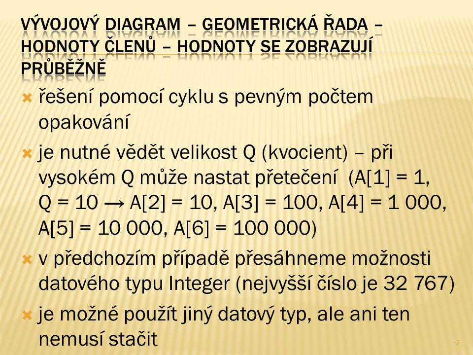  řešení pomocí cyklu s pevným počtem opakování  je nutné vědět velikost Q (kvocient) – při vysokém Q může nastat přetečení (A[1] = 1, Q = 10 → A[2] = 10, A[3] = 100, A[4] = 1 000, A[5] = 10 000, A[6] = 100 000)  v předchozím případě přesáhneme možnosti datového typu Integer (nejvyšší číslo je 32 767)  je možné použít jiný datový typ, ale ani ten nemusí stačit 7
