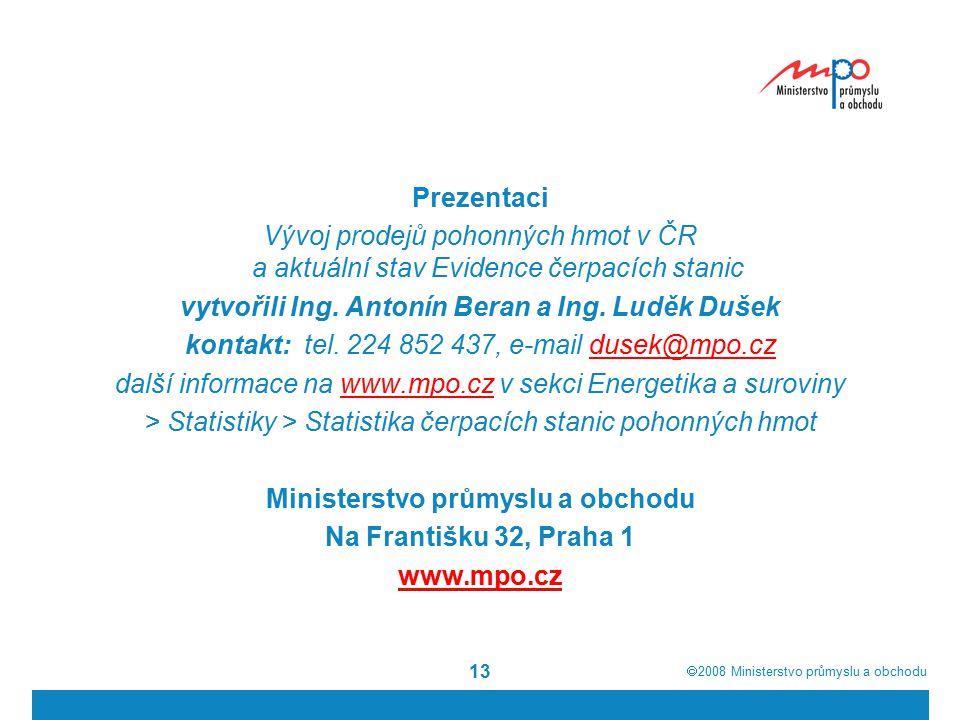  2008  Ministerstvo průmyslu a obchodu 13 Prezentaci Vývoj prodejů pohonných hmot v ČR a aktuální stav Evidence čerpacích stanic vytvořili Ing. Ant