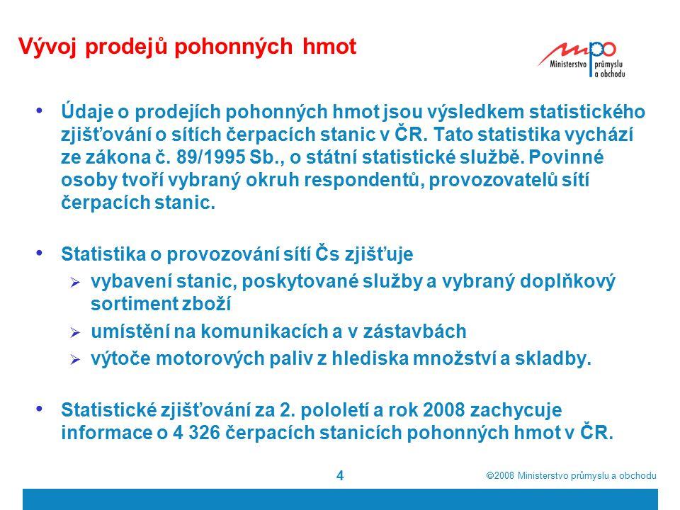  2008  Ministerstvo průmyslu a obchodu 4 Vývoj prodejů pohonných hmot Údaje o prodejích pohonných hmot jsou výsledkem statistického zjišťování o sí