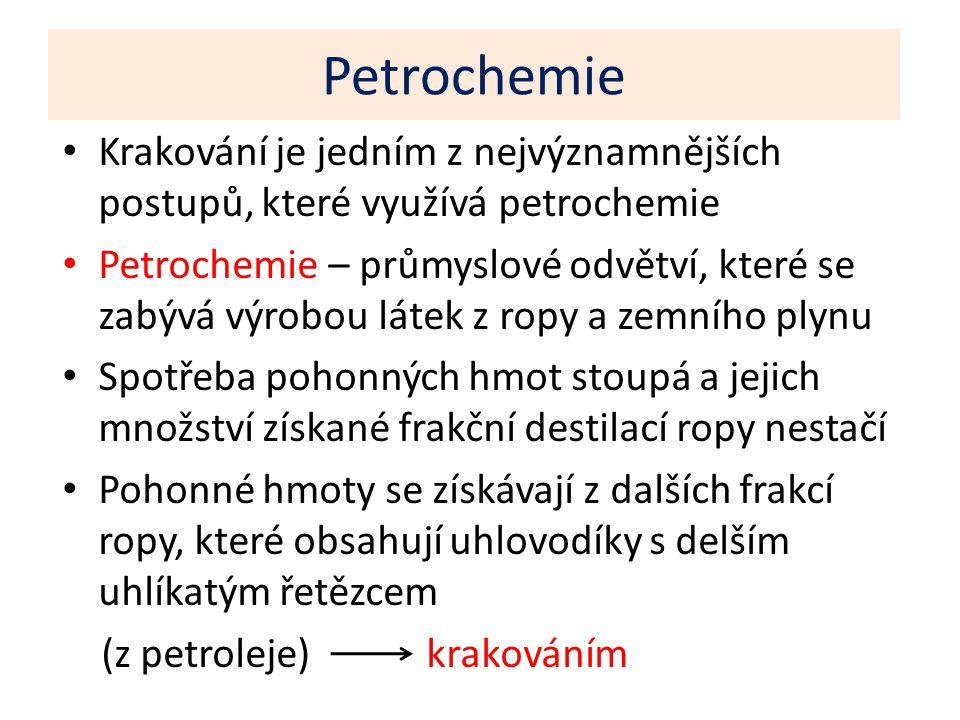 Petrochemie Krakování je jedním z nejvýznamnějších postupů, které využívá petrochemie Petrochemie – průmyslové odvětví, které se zabývá výrobou látek