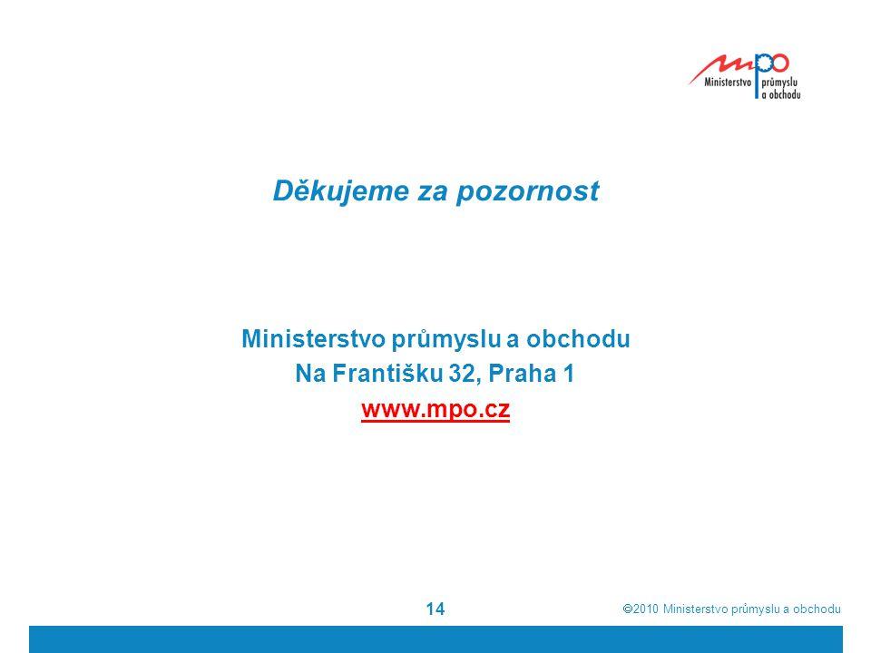  2010  Ministerstvo průmyslu a obchodu 14 Děkujeme za pozornost Ministerstvo průmyslu a obchodu Na Františku 32, Praha 1 www.mpo.cz