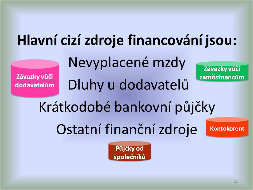 Hlavní cizí zdroje financování jsou: Nevyplacené mzdy Dluhy u dodavatelů Krátkodobé bankovní půjčky Ostatní finanční zdroje 15 Kontokorent Závazky vůč
