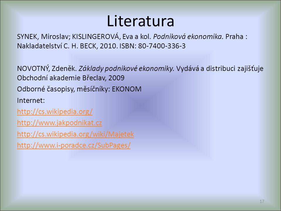 Literatura SYNEK, Miroslav; KISLINGEROVÁ, Eva a kol. Podniková ekonomika. Praha : Nakladatelství C. H. BECK, 2010. ISBN: 80-7400-336-3 NOVOTNÝ, Zdeněk