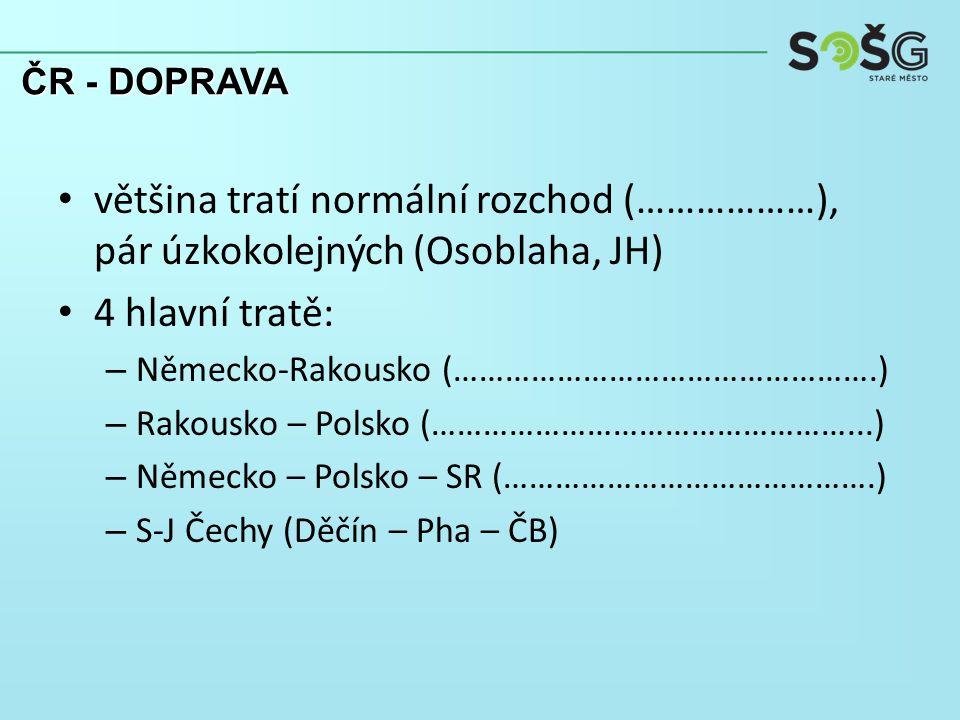 většina tratí normální rozchod (………………), pár úzkokolejných (Osoblaha, JH) 4 hlavní tratě: – Německo-Rakousko (………………………………………….) – Rakousko – Polsko (…………………………………………...) – Německo – Polsko – SR (…………………………………….) – S-J Čechy (Děčín – Pha – ČB) ČR - DOPRAVA