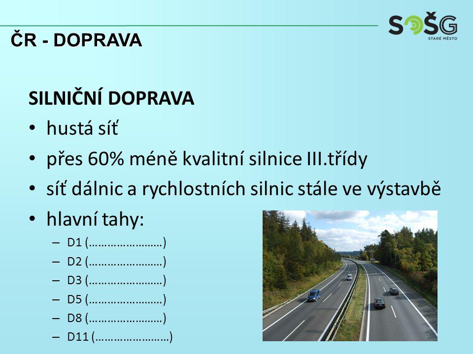 SILNIČNÍ DOPRAVA hustá síť přes 60% méně kvalitní silnice III.třídy síť dálnic a rychlostních silnic stále ve výstavbě hlavní tahy: – D1 (……………………) – D2 (……………………) – D3 (……………………) – D5 (……………………) – D8 (……………………) – D11 (……………………) ČR - DOPRAVA