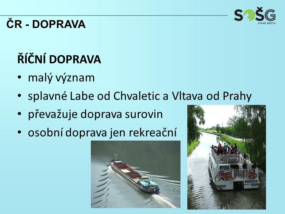 ŘÍČNÍ DOPRAVA malý význam splavné Labe od Chvaletic a Vltava od Prahy převažuje doprava surovin osobní doprava jen rekreační ČR - DOPRAVA