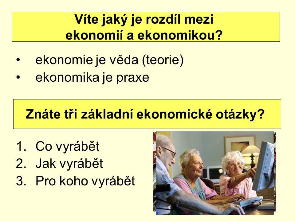 ekonomie je věda (teorie) ekonomika je praxe 1.Co vyrábět 2.Jak vyrábět 3.Pro koho vyrábět Víte jaký je rozdíl mezi ekonomií a ekonomikou.