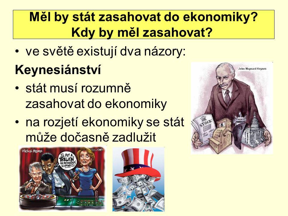 ve světě existují dva názory: Keynesiánství stát musí rozumně zasahovat do ekonomiky na rozjetí ekonomiky se stát může dočasně zadlužit Měl by stát zasahovat do ekonomiky.