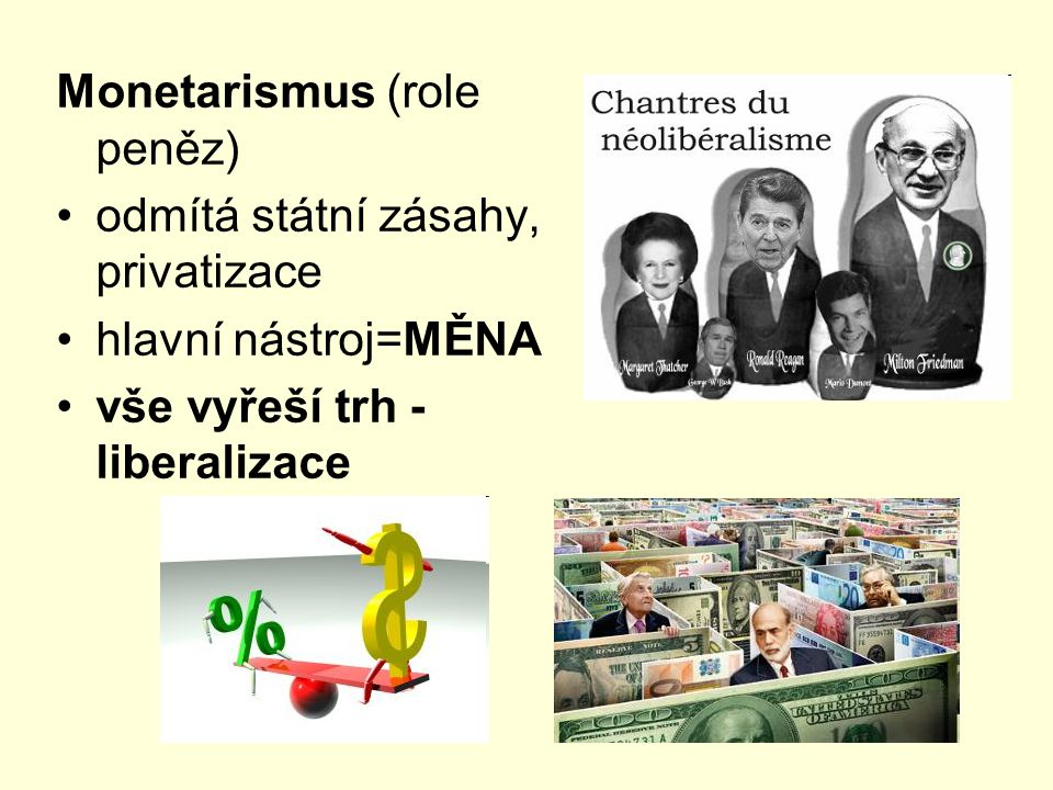 Monetarismus (role peněz) odmítá státní zásahy, privatizace hlavní nástroj=MĚNA vše vyřeší trh - liberalizace