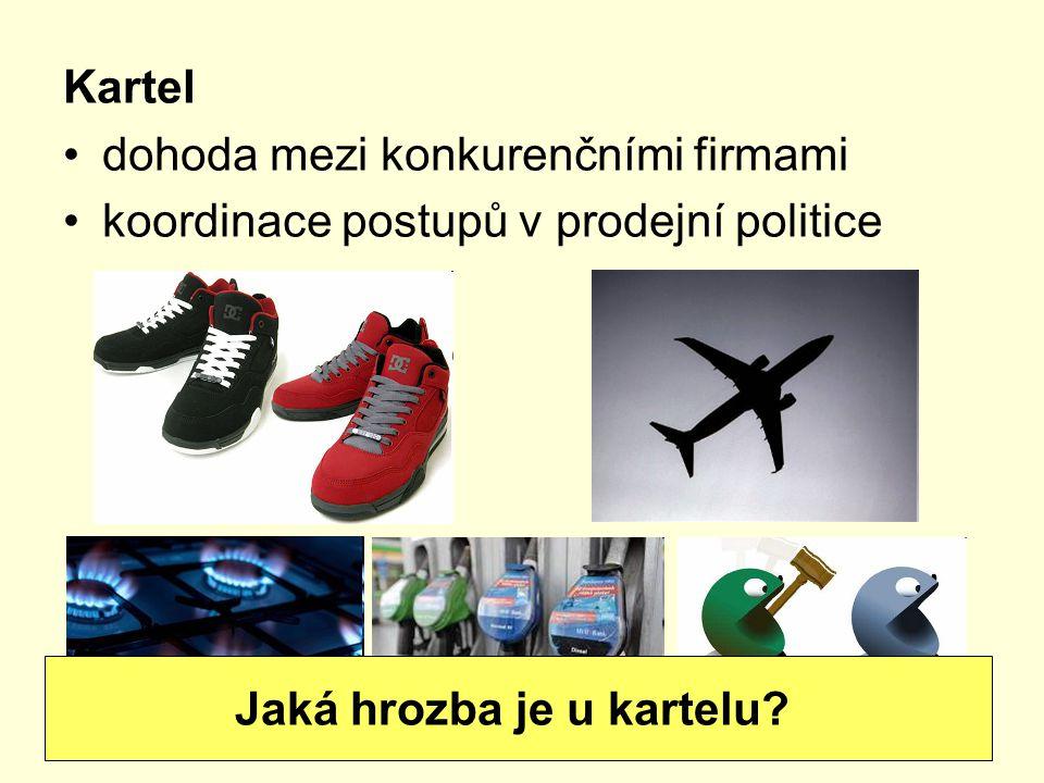 Kartel dohoda mezi konkurenčními firmami koordinace postupů v prodejní politice Jaká hrozba je u kartelu