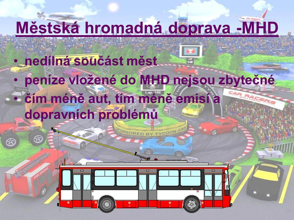 Městská hromadná doprava -MHD nedílná součást měst peníze vložené do MHD nejsou zbytečné čím méně aut, tím méně emisí a dopravních problémů