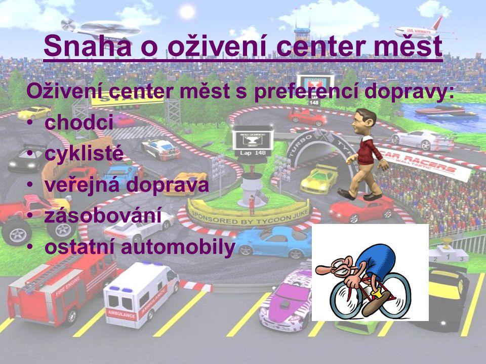 Snaha o oživení center měst Oživení center měst s preferencí dopravy: chodci cyklisté veřejná doprava zásobování ostatní automobily