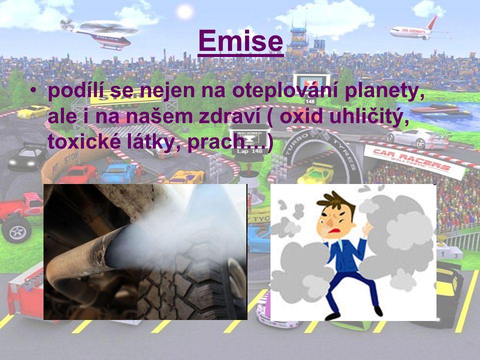 Emise podílí se nejen na oteplování planety, ale i na našem zdraví ( oxid uhličitý, toxické látky, prach…)