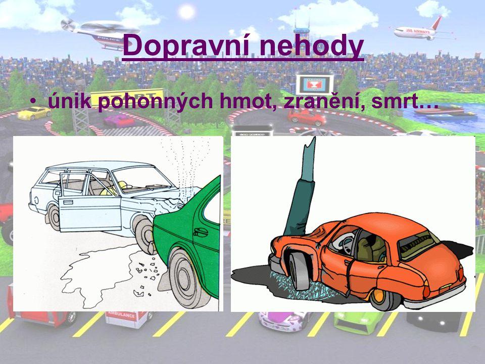 Dopravní nehody únik pohonných hmot, zranění, smrt…