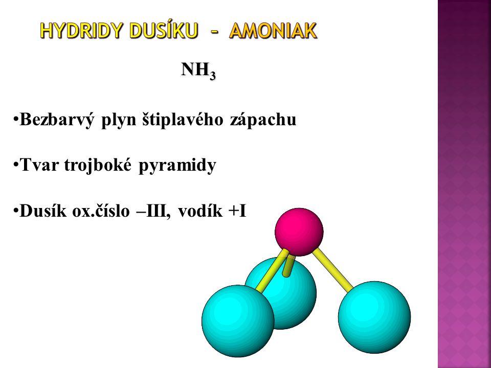 NH 3 N 2 + 3 H 2  2 NH 3 Bezbarvý plyn štiplavého zápachu Tvar trojboké pyramidy Dusík ox.číslo –III, vodík +I
