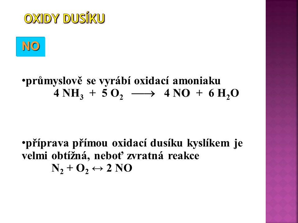 NONONONO průmyslově se vyrábí oxidací amoniaku NO 4 NH 3 + 5 O 2  4 NO + 6 H 2 O příprava přímou oxidací dusíku kyslíkem je velmi obtížná, neboť zvratná reakce N 2 + O 2 ↔ 2 NO