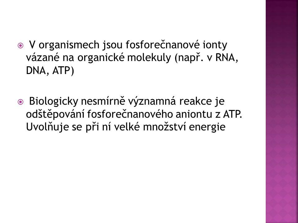  V organismech jsou fosforečnanové ionty vázané na organické molekuly (např. v RNA, DNA, ATP)  Biologicky nesmírně významná reakce je odštěpování fo