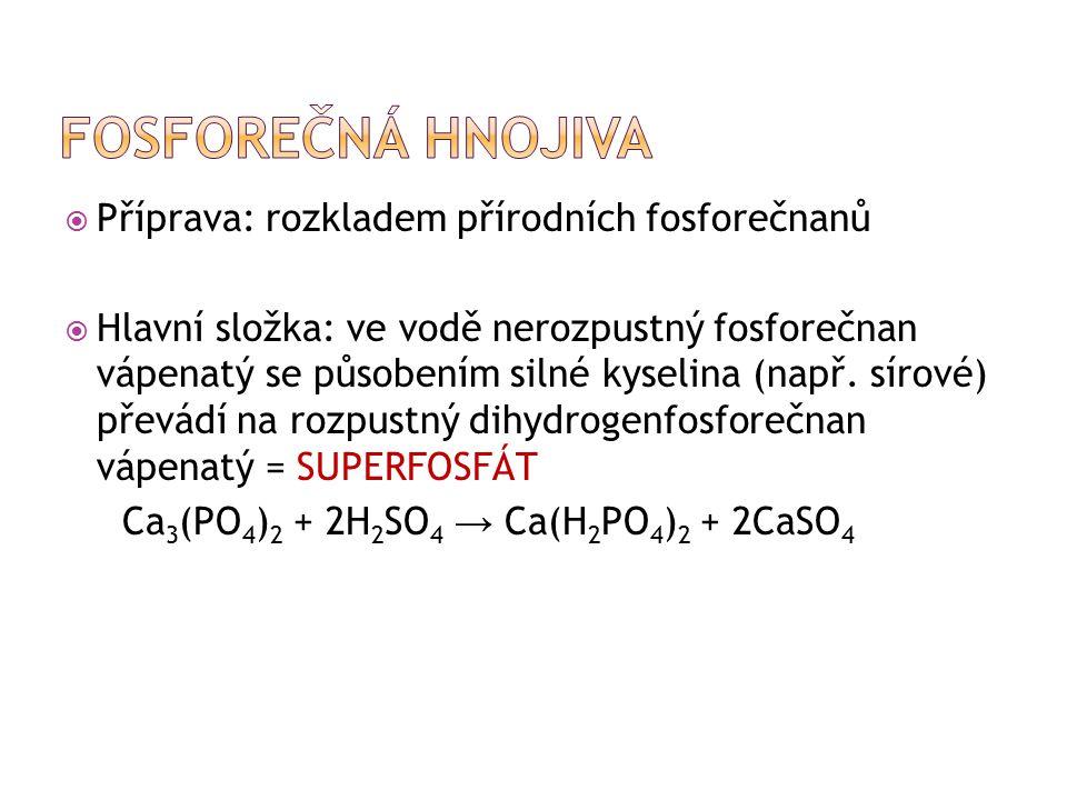  Příprava: rozkladem přírodních fosforečnanů  Hlavní složka: ve vodě nerozpustný fosforečnan vápenatý se působením silné kyselina (např.