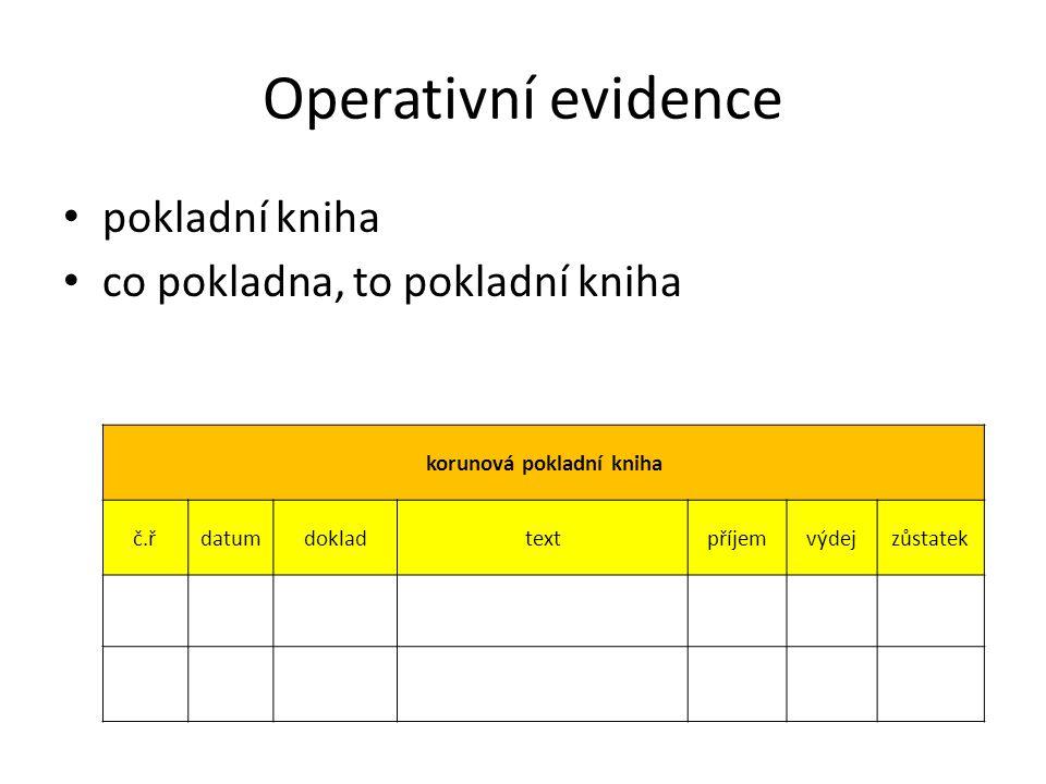 Operativní evidence pokladní kniha co pokladna, to pokladní kniha korunová pokladní kniha č.řdatumdokladtextpříjemvýdejzůstatek