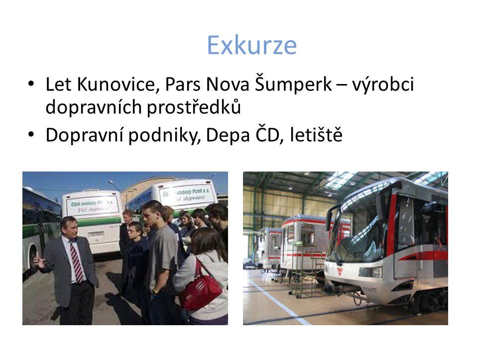Exkurze Let Kunovice, Pars Nova Šumperk – výrobci dopravních prostředků Dopravní podniky, Depa ČD, letiště