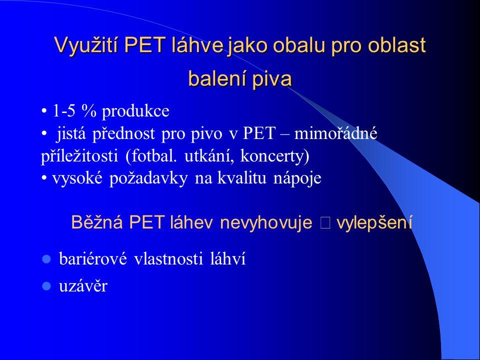 Využití PET láhve jako obalu pro oblast balení piva bariérové vlastnosti láhví uzávěr 1-5 % produkce jistá přednost pro pivo v PET – mimořádné příležitosti (fotbal.