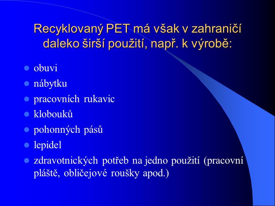 Recyklovaný PET má však v zahraničí daleko širší použití, např.