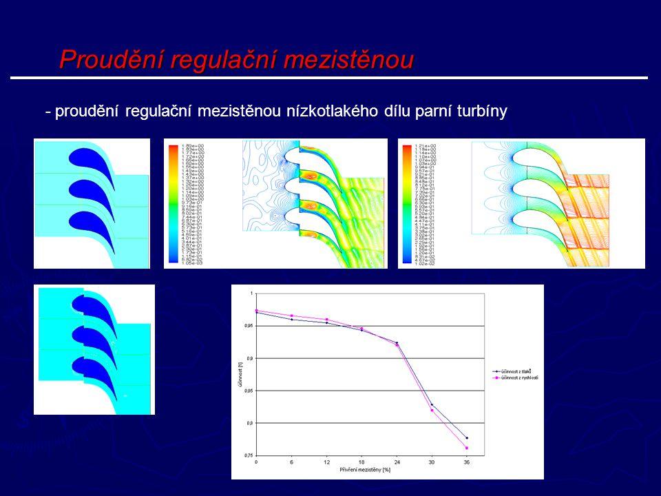 Proudění regulační mezistěnou - proudění regulační mezistěnou nízkotlakého dílu parní turbíny