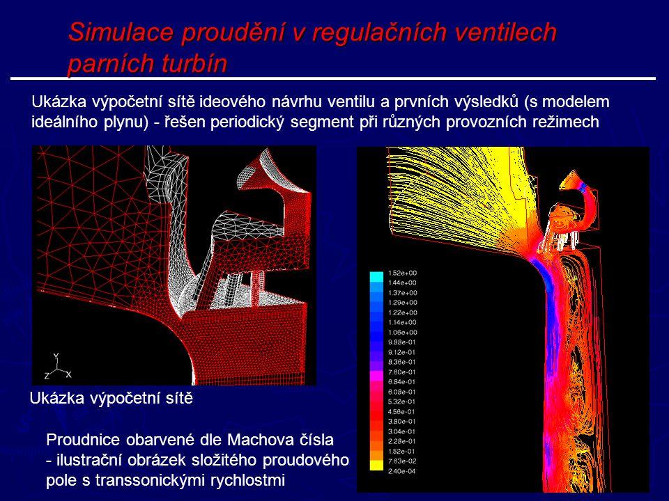 Simulace proudění v regulačních ventilech parních turbín Ukázka výpočetní sítě ideového návrhu ventilu a prvních výsledků (s modelem ideálního plynu)